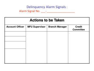 Delinquency Alarm Signals  :  Alarm Signal No.  ___-__________________