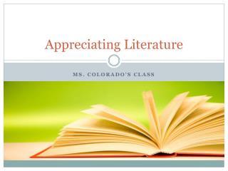Appreciating Literature