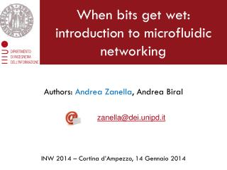 When bits get wet:  introduction to microfluidic networking