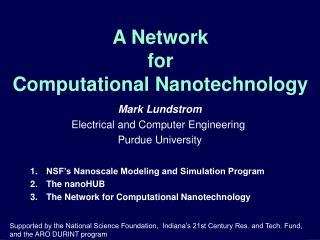 A Network  for  Computational Nanotechnology