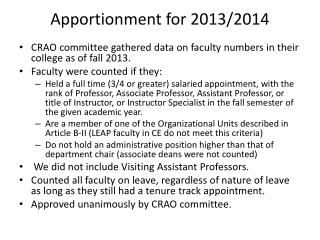 Apportionment for 2013/2014