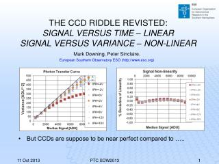 THE CCD RIDDLE REVISTED: SIGNAL VERSUS TIME – LINEAR SIGNAL VERSUS VARIANCE – NON-LINEAR