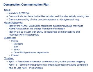 Demarcation Communication Plan