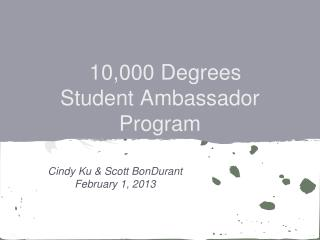 10,000 Degrees  Student  Ambassador Program