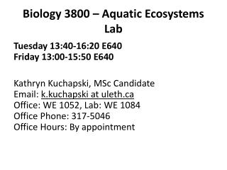 Biology 3800 – Aquatic Ecosystems  Lab