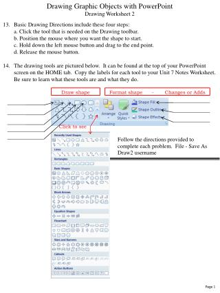 Drawing Graphic Objects with PowerPointDrawing Worksheet 2