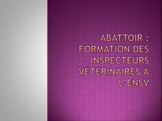 Abattoir : Formation des inspecteurs vétérinaires à l'ENSV