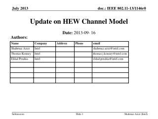 Update on HEW Channel Model