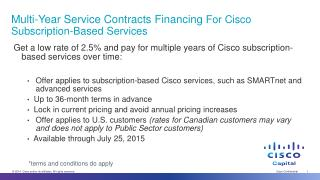 Multi-Year Service Contracts  Financing  For  Cisco Subscription-Based Services