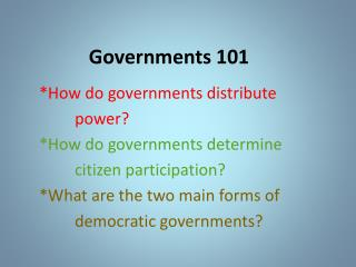 Governments 101