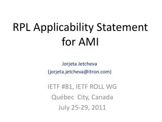 RPL Applicability Statement  for AMI