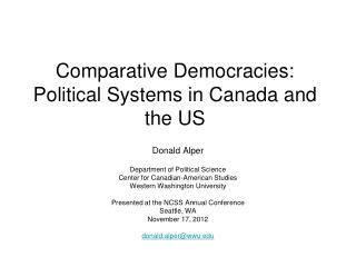 Comparative Democracies: Political Systems in Canada and the US