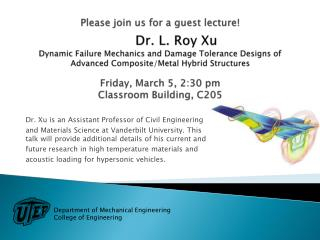 Dr. Xu is an Assistant Professor of Civil Engineering