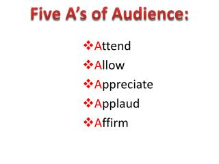 Five A's of Audience: