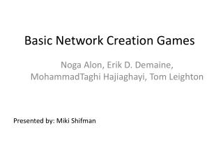 Basic Network Creation Games