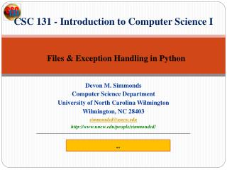 CSC 131 - Introduction to Computer Science I