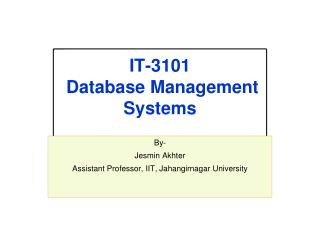 IT-3101  Database Management Systems