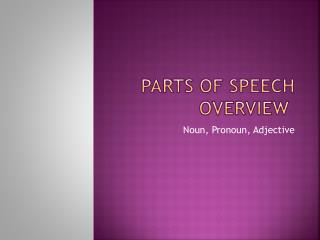 Parts of Speech Overview