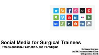 Social Media for Surgical Trainees Professionalism, Promotion, and Paradigms