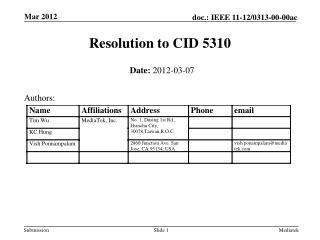 Resolution to CID 5310