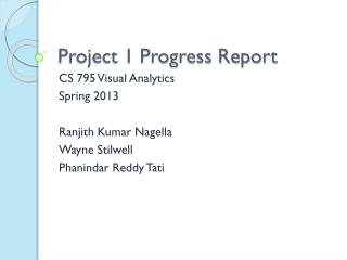 Project 1 Progress Report