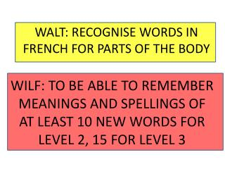 WALT: RECOGNISE WORDS IN FRENCH FOR PARTS OF THE BODY