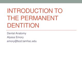 Introduction to the permanent dentition