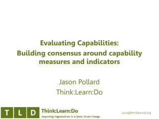 Evaluating Capabilities:  Building consensus around  capability measures and  indicators
