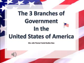 The 3 Branches of Government  In the  United States of America