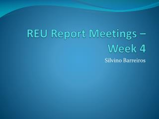 REU Report Meetings – Week 4