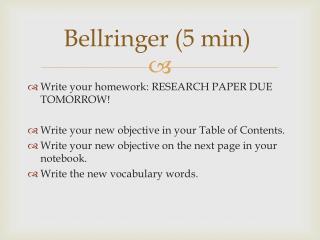 Bellringer  (5 min)
