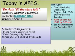 """""""Do right 'till the stars fall! """" Week #9  Quarter 2  (12/9/13-12/13/13)  (calendar site)"""