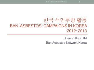 한국 석면추방 활동 Ban  asbestos  campaigns in Korea 2012~2013