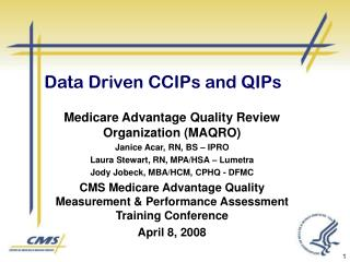 Data Driven CCIPs and QIPs