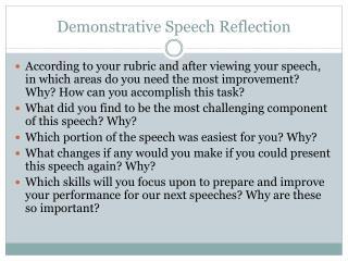 Demonstrative Speech Reflection