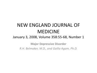 NEW ENGLAND JOURNAL OF MEDICINE January 3, 2008, Volume 358:55-68, Number 1