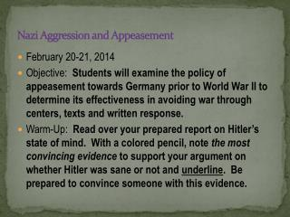 Nazi Aggression and Appeasement
