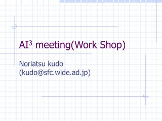 AI3 meetingWork Shop