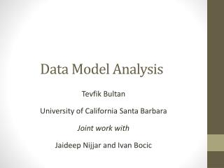 Data Model Analysis