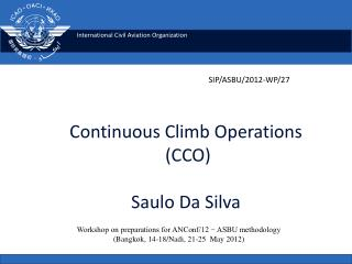 Continuous Climb  Operations  ( CCO) Saulo Da Silva