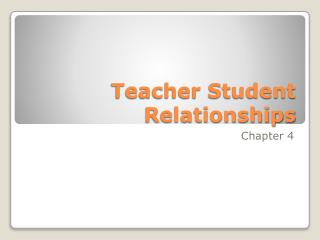 Teacher Student Relationships