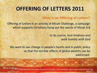 What is an Offering of Letters?