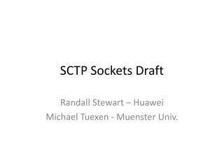 SCTP Sockets Draft