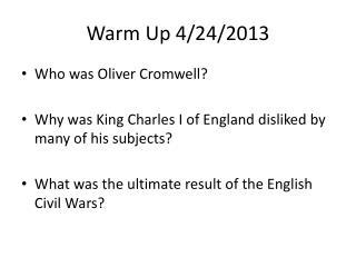 Warm Up 4/24/2013