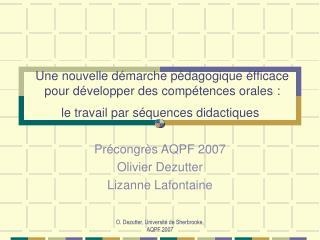 Une nouvelle d marche p dagogique  fficace pour d velopper des comp tences orales :  le travail par s quences didactique