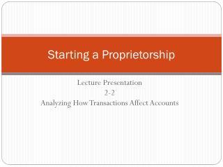 Starting a Proprietorship