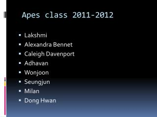 Apes class 2011-2012