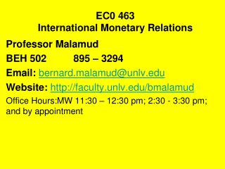 EC0 463 International Monetary Relations