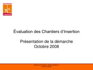 valuation des Chantiers d Insertion  Pr sentation de la d marche Octobre 2008
