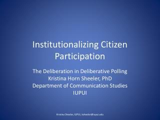 Institutionalizing Citizen Participation